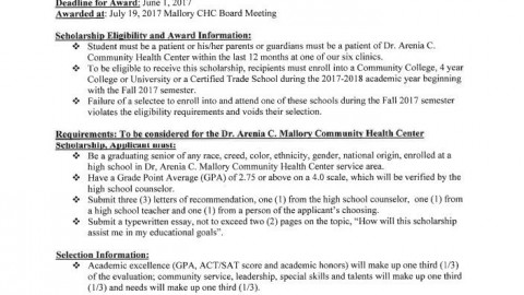 Mallory Community Health Center Scholarship